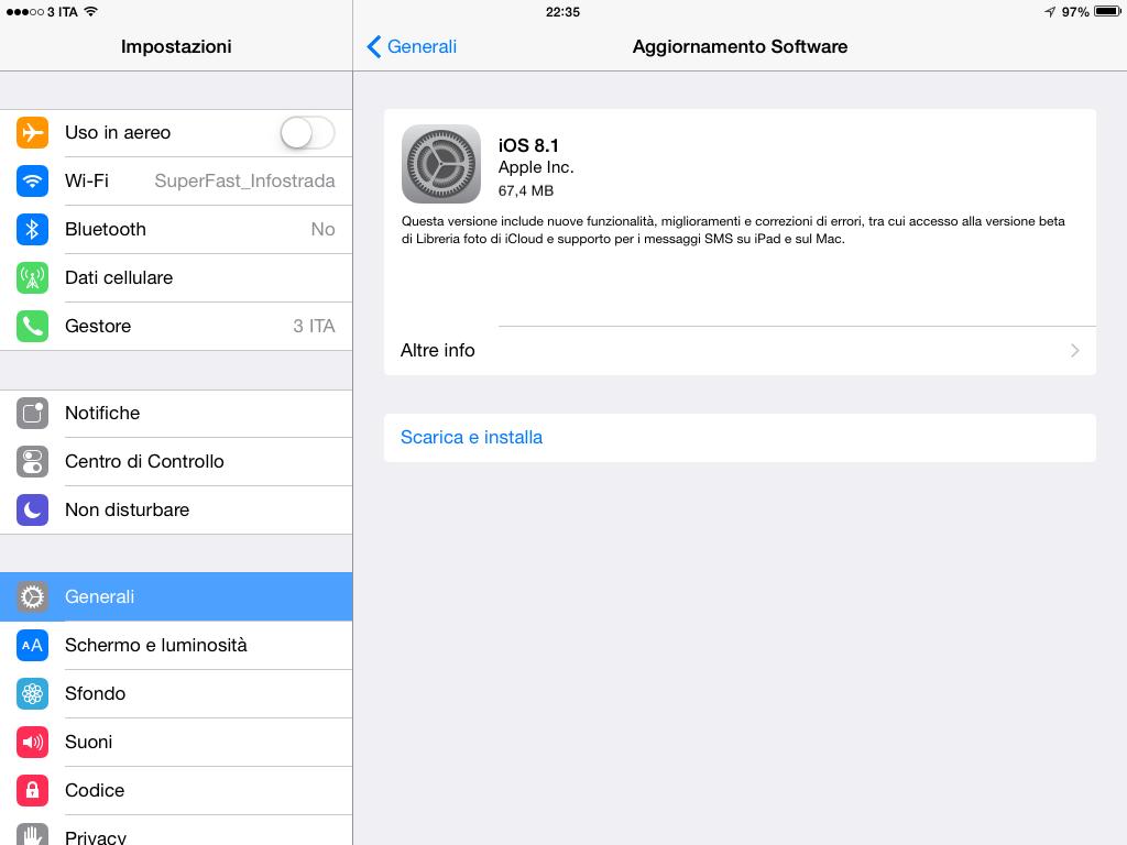 iOS 8.1 su iPad 2