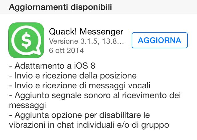 Quack Messenger aggiornamento