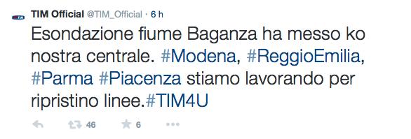 gravi problemi rete Tim in Emilia Romagna