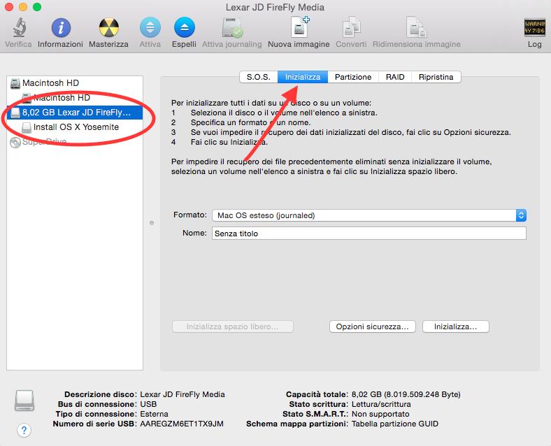 installare OS X Yosemite da zero