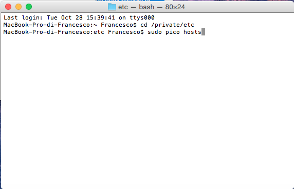 guida modificare file hosts su Mac