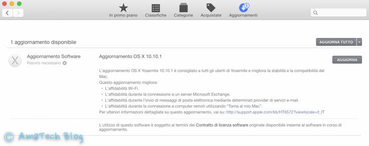 Aggiornamento OS X Yosemite 10.10.1