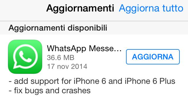 Aggiornamento Whatsapp iPhone 6