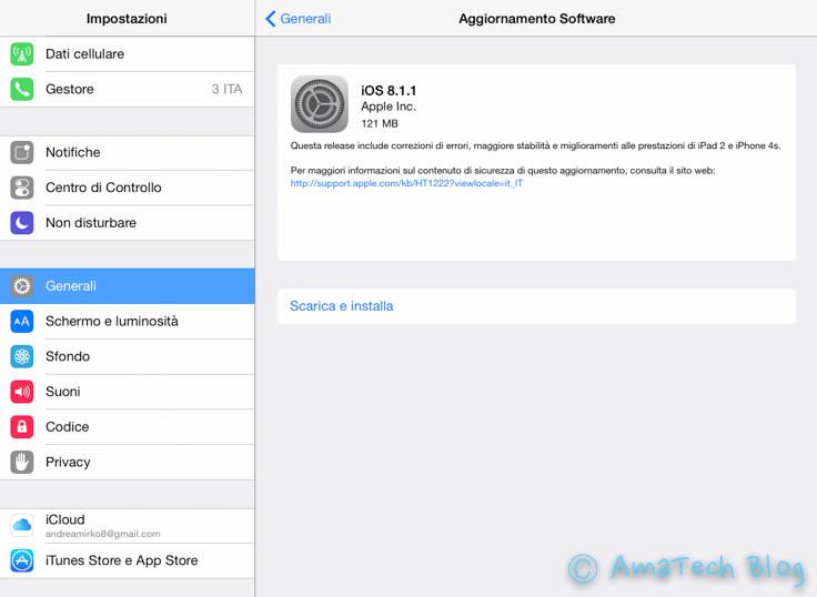 Aggiornamento iOS 8.1.1