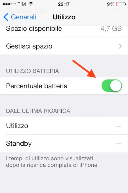 Attivare percentuale batteria iPhone