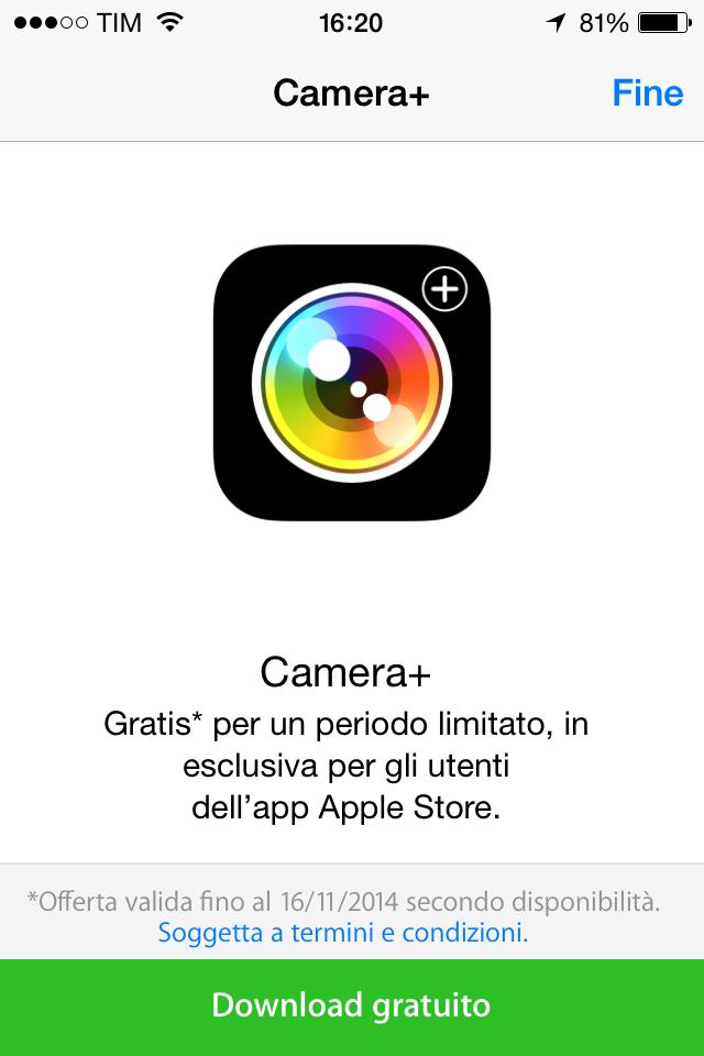 [App Gratis] Camera+ gratis solo per oggi su App Store