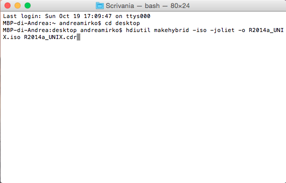 creare file iso da terminale