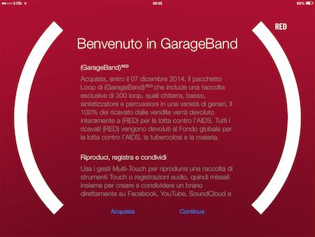 aggiornamento GarageBand RED