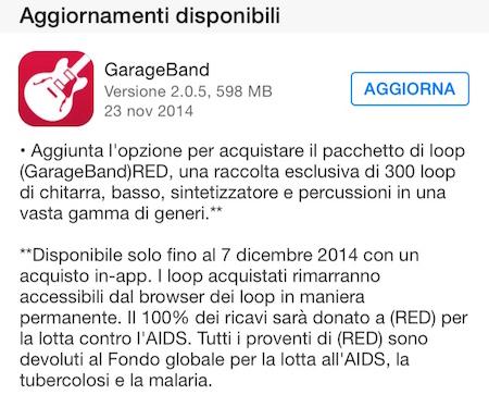aggiornamento GarageBand
