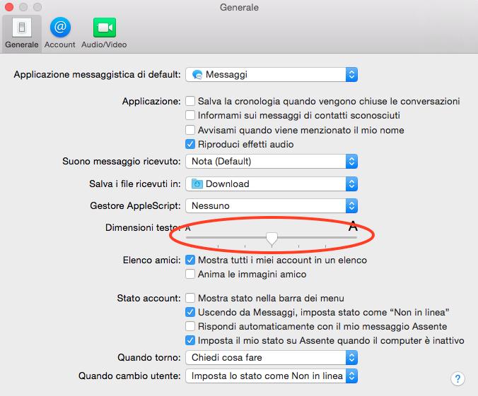aumentare dimensione carattere messaggi Yosemite