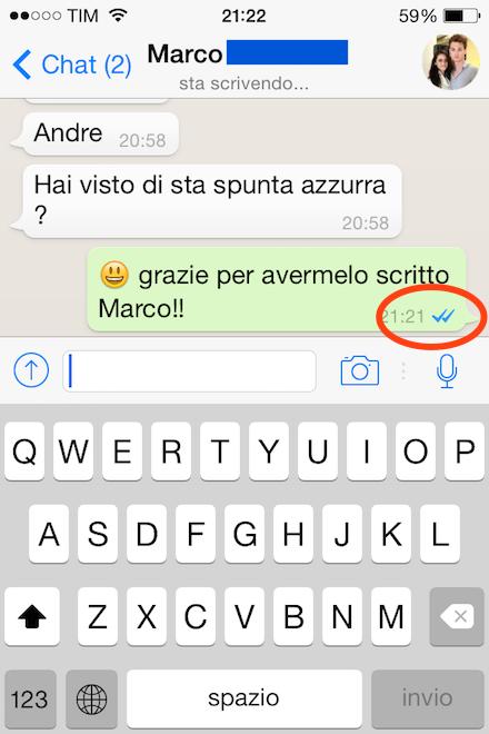 nuova spunta azzurra whatsapp