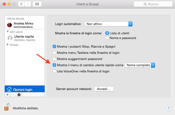 visualizzare nome utente Mac in alto a destra