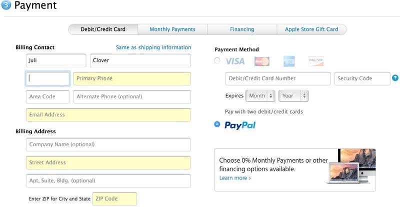 Apple Store online accetta pagamenti Paypal