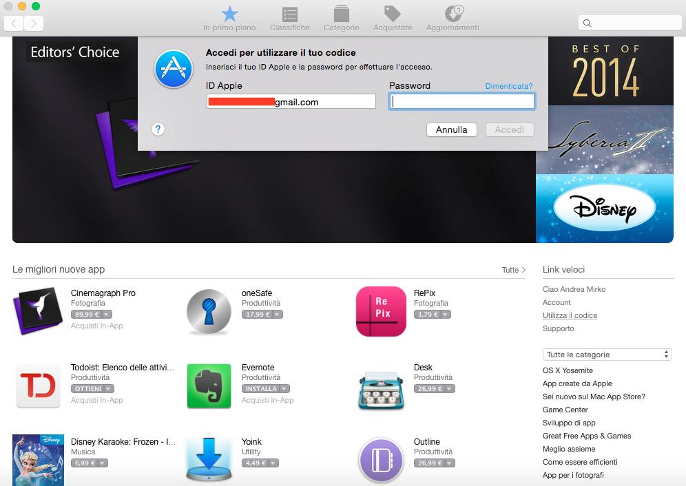 come usare codice redeem su Mac App Store