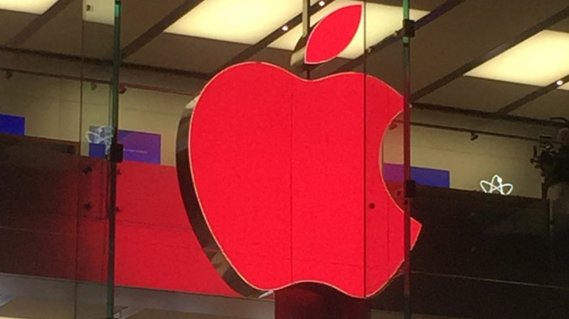 logo rosso in Apple Store