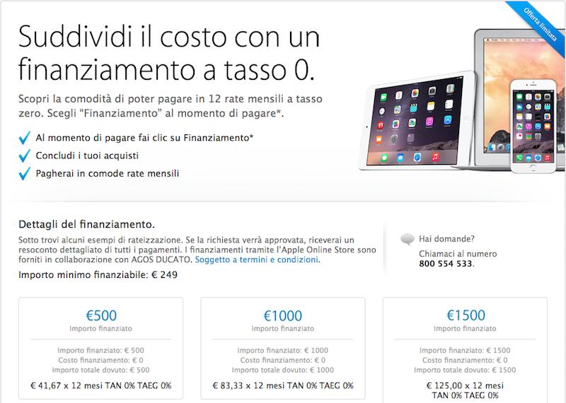 tasso zero Apple Store online