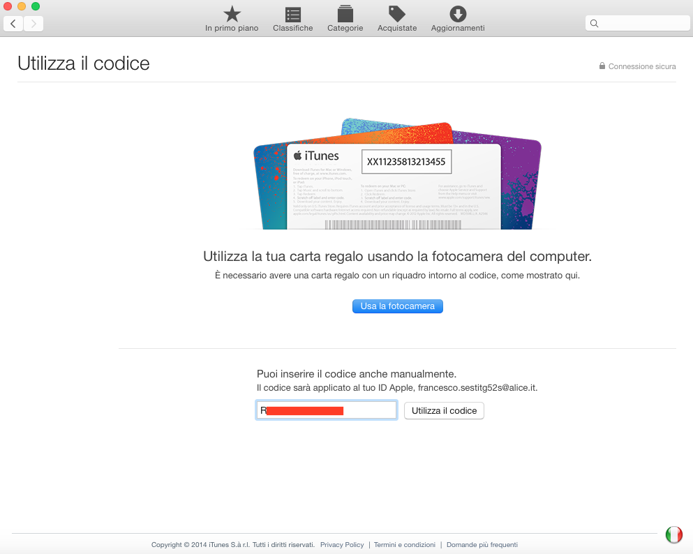 usare codice redeem su Mac App Store