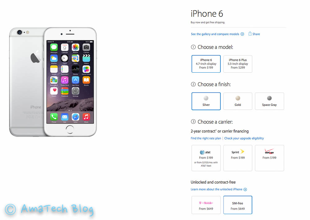 acquistare iPhone 6 SIM-Free da Apple Store USA