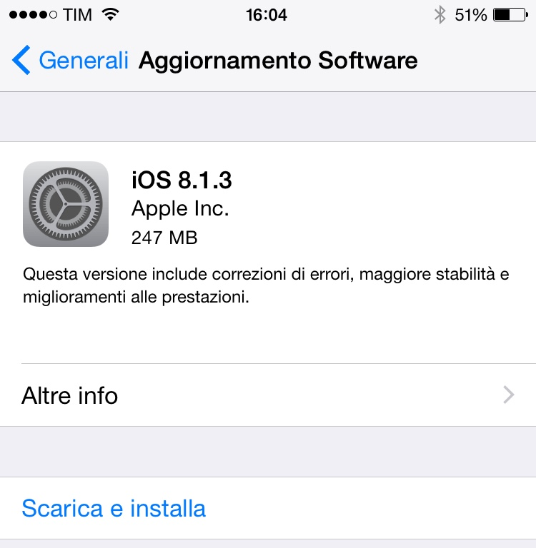 apple rilascia iOs 8.1.3