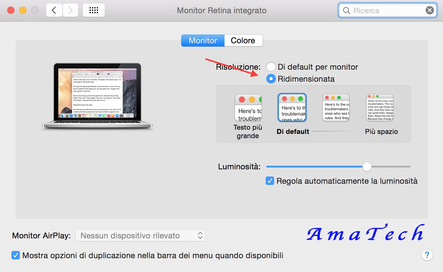 Disattivare-Attivare modalità Retina Mac