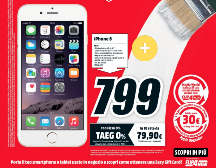 sconto iPhone 6 Mediaworld