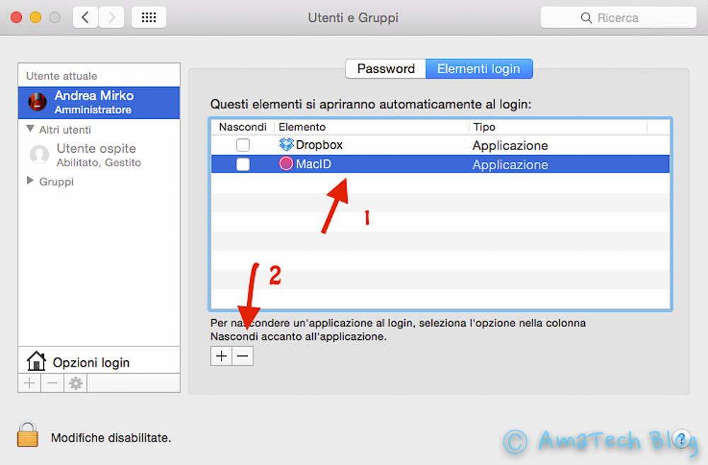 disattivare programmi avvio automatico Mac OS X