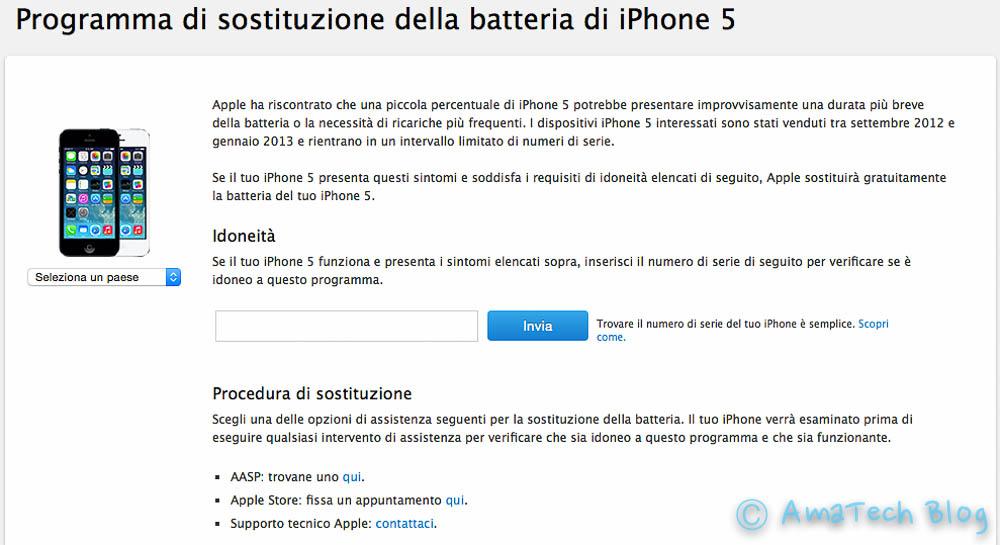 programma sostituzione batteria iPhone 5