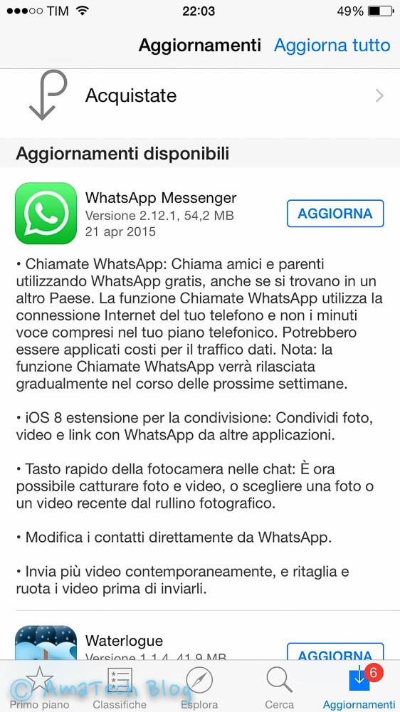 whatsapp rilascia chiamate vocali iOS
