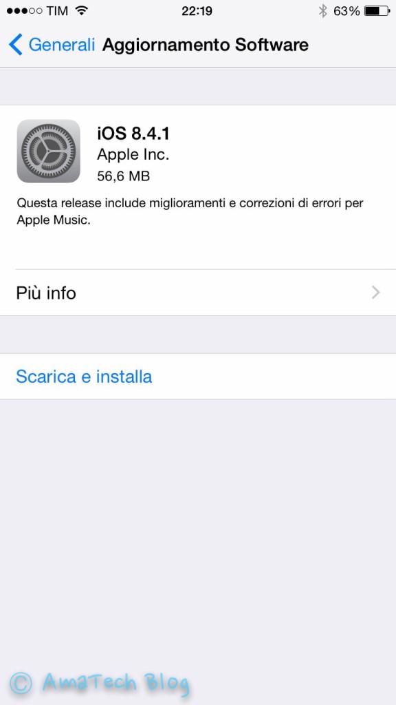 Nuovo iOS 8.4.1