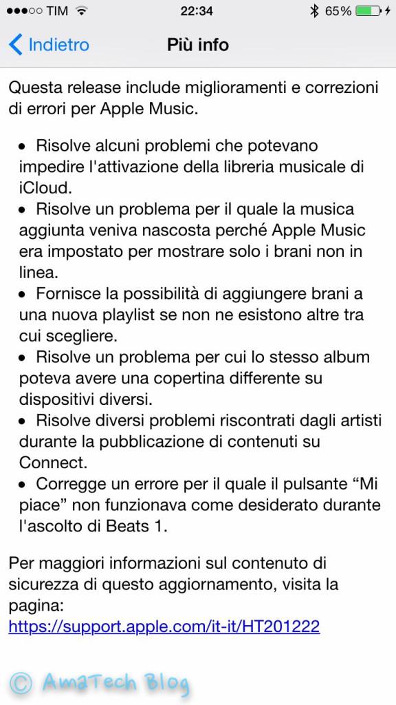 nuovo iOS 8.4.1 rilasciato da Apple