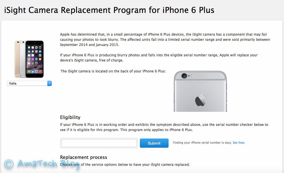 programma sostituzione fotocamera iSight iPhone 6 Plus
