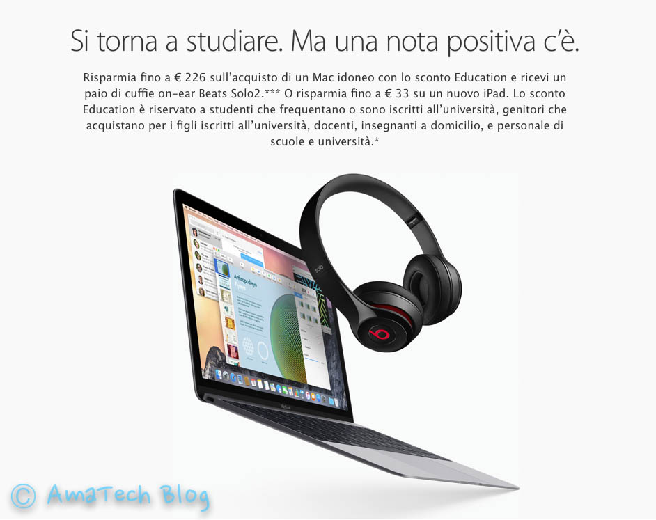 sconto studenti acquisto Mac - back to school 2015 italia