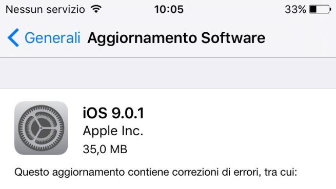 Apple rilascia iOS 9.0.1