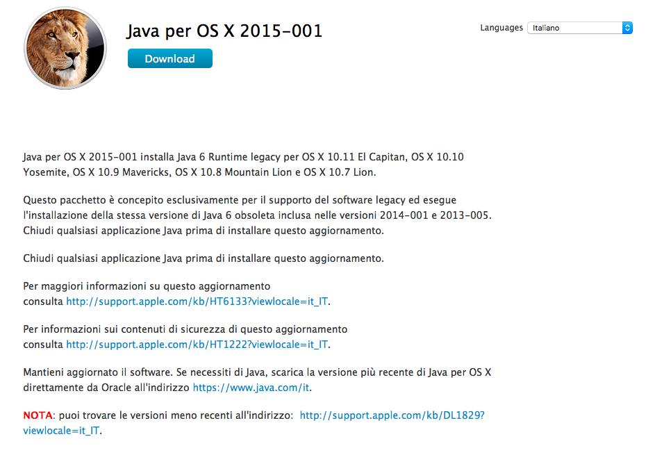 installare Java su OS X El Capitan