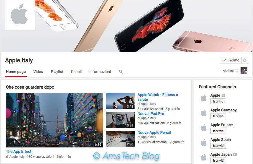 nuovo canale youtube apple italy