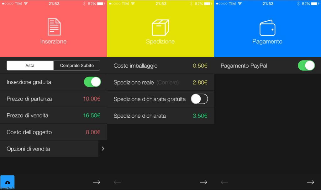 app iOS che calcola guadagni eBay