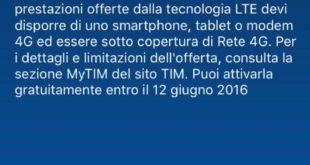 attivazione 4G Tim gratis