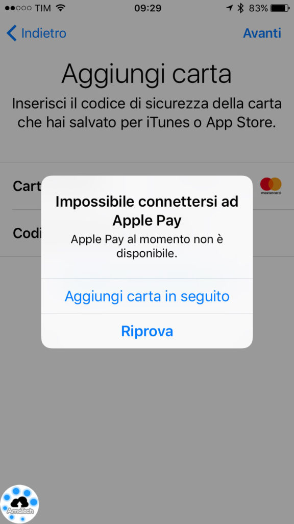problema apple pay in Italia