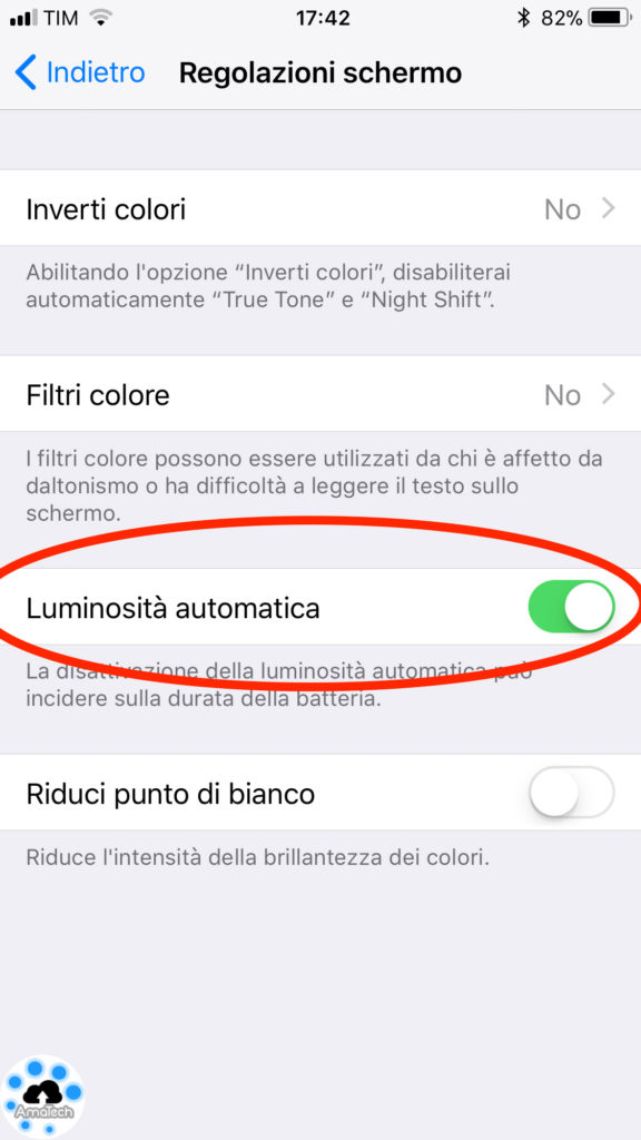 luminosità automatica iphone ios 11